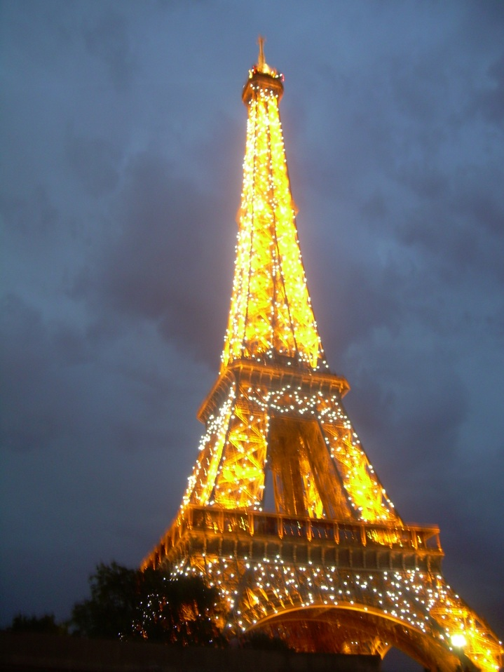The Eiffel tower looks spectacular when its lit up every night.